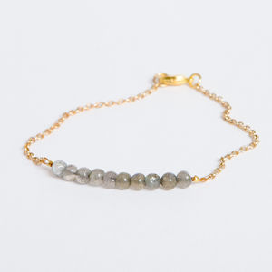 Gold Chain Bracelet With Semi Precious Stones