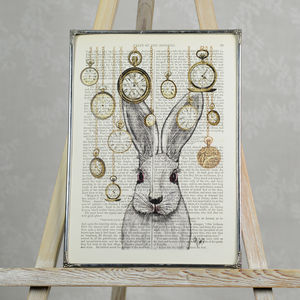 Rabbit In Wonderland Print - children's room