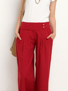 Pleated Wide Leg Trousers - trousers & leggings