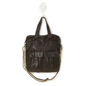 Dark Brown Leather Work/Travel Bag - more