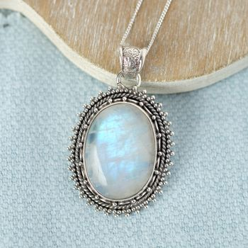 Large Moonstone And Sterling Silver Necklace
