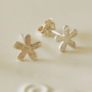 Sterling Silver Hammered Flower Earrings - earrings