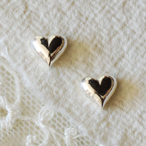 Solid Sterling Silver Heart Earrings - earrings