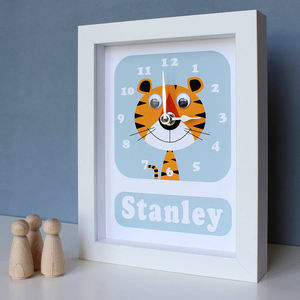 Personalised Framed Animal Clock - personalised birthday gifts