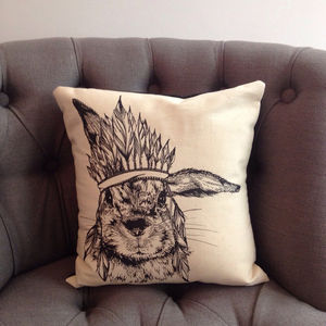 Chief Bunny Cushion - patterned cushions