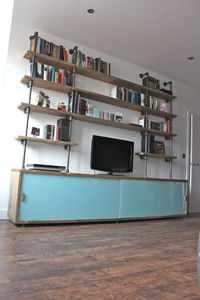 Simeon Reclaimed Wood Shelves With Glass Sliding Doors - living room