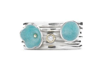 Diamond Enamel Daisy Stack Ring