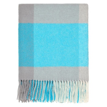 Turquoise Check Throw