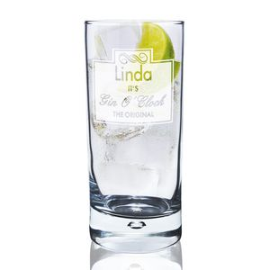 Gin O'clock Personalised Hi Ball Bubble Glass