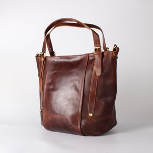 Leather Handbag Bucket Tote Bag, Vintage Brown - womens