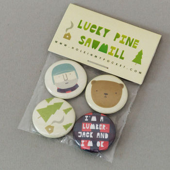 Set Of Four Lucky Pine Sawmill Badges