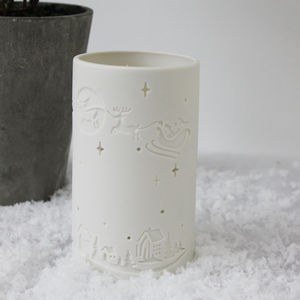 Christmas Scene Porcelain Tea Light Holder - candles & home fragrance