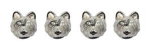 Fox Head Sterling Silver Dress Studs - men's accessories