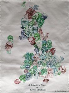 Literary Map Of Great Britain Tea Towel - tea towels