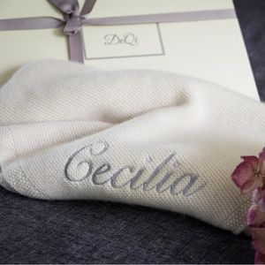 Personalised Knitted Cashmere Baby Blanket - christening gifts