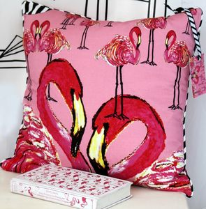 Kissing Flamingoes Cushion