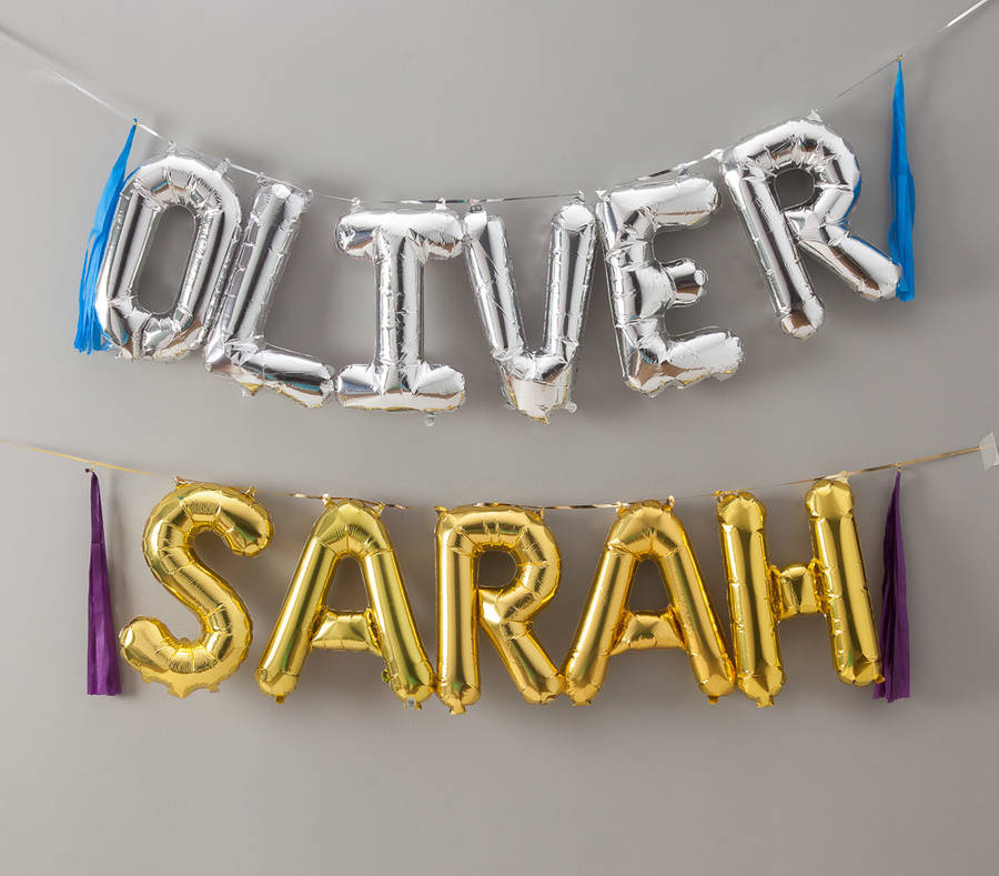 balloon letters 16 inch in gold and silver