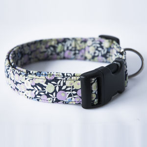 Bluebell Liberty Fabric Dog Collar - pet leads & harnesses