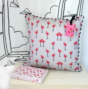 Grey Flamingo Cushion - nursery cushions