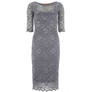 10% O Ff Was 32.99 Grey Lace Midi Dress - women's fashion