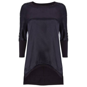 Satin Front, Lace Sleeve Tee With Jersey Back