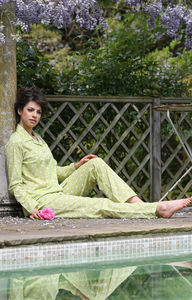 Pyjama Set In Yellow Dijon Swallow Print - lingerie & nightwear