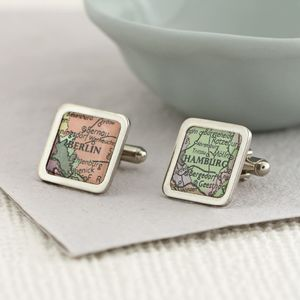 Personalised Vintage Map Cufflinks - birthday gifts