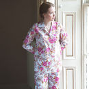 Ladies Pyjama Set In White Rose Floral Print