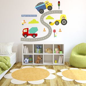 Diggers Fabric Wall Stickers - baby's room