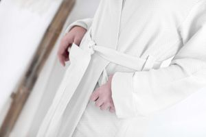 White Honeycomb Soft Cotton Bathrobe For Men - women's fashion