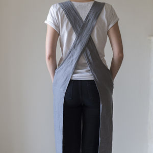 Linen Artisan Cross Over Apron - aprons