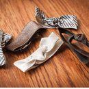 Brown Herringbone Stretch Ribbon Hair Ties