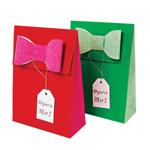 Glitter Bow Gift Bags - gift bags & boxes
