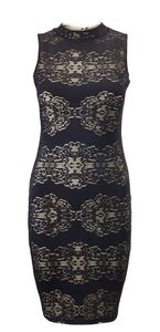 Black Lace Body Con Dress With Nude Lining - dresses