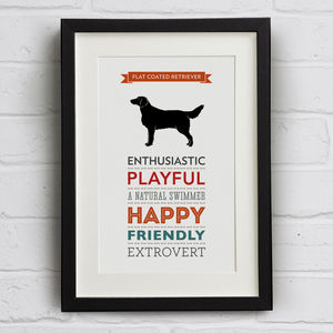 Flat Coated Retriever Dog Breed Traits Print - pet-lover