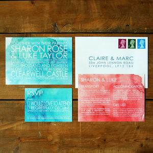 Modern Watercolour Wedding Invitation - watercolour styling for weddings