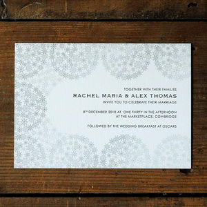 Snowflakes Wedding Invitation Stationery - wedding stationery