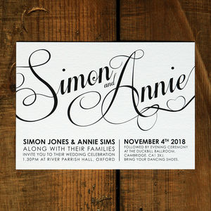 Modern Script Wedding Invitation Stationery - wedding stationery