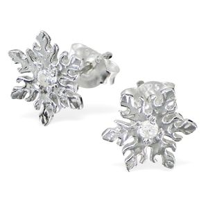 Sterling Silver Snowflake Earrings With Cubic Zirconia