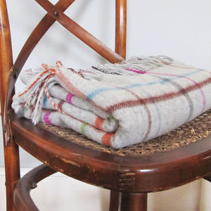 Pure Merino Wool Window Pane Blanket And Throw