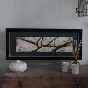 Yellow Lichen Triptych Wall Art