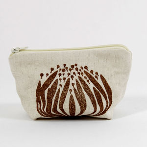 Block Printed Protea Coin Purses