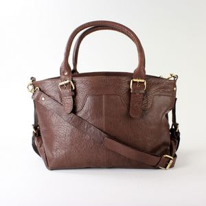 Brown Large Leather Buckle Tote Handbag