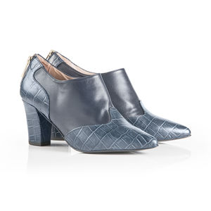 Croc Leather Shoe Boot - women's fashion