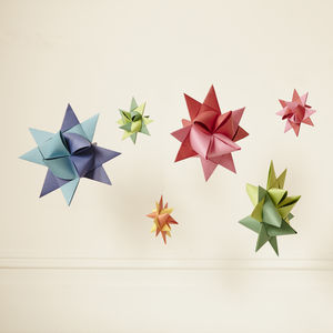 Set Of Six Multicoloured Origami Decorations