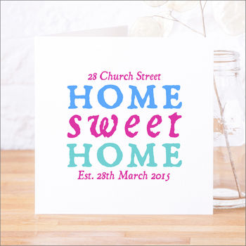Personalised 'Home Sweet Home' New Home Card