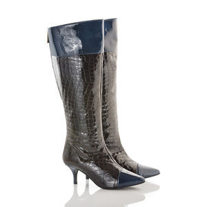 Knee High Kitten Heel Boot With Back Zip