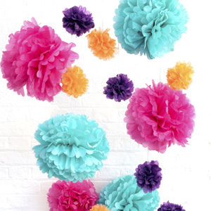 Tissue Paper Pom Poms - home accessories