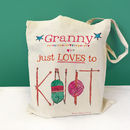 Personalised 'Knitting' Bag - Just loves to knit design - cotton bag