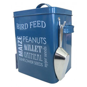 Wild Bird Food Storage Tin And Scoop In Petrol Blue